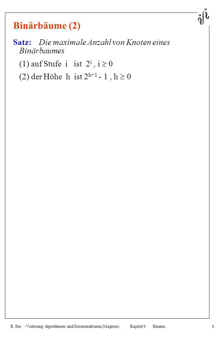Binärbäume (2) Satz: Die maximale Anzahl von Knoten eines Binärbaumes