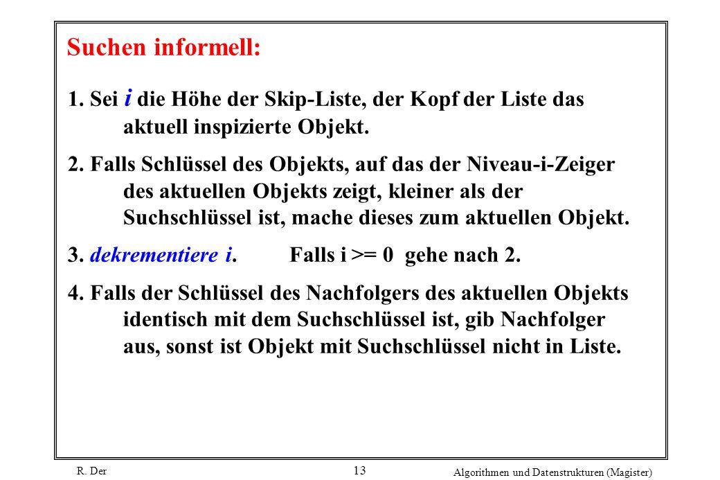 Suchen informell: 1. Sei i die Höhe der Skip-Liste, der Kopf der Liste das aktuell inspizierte Objekt.