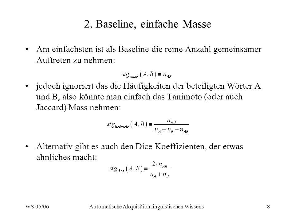 2. Baseline, einfache Masse