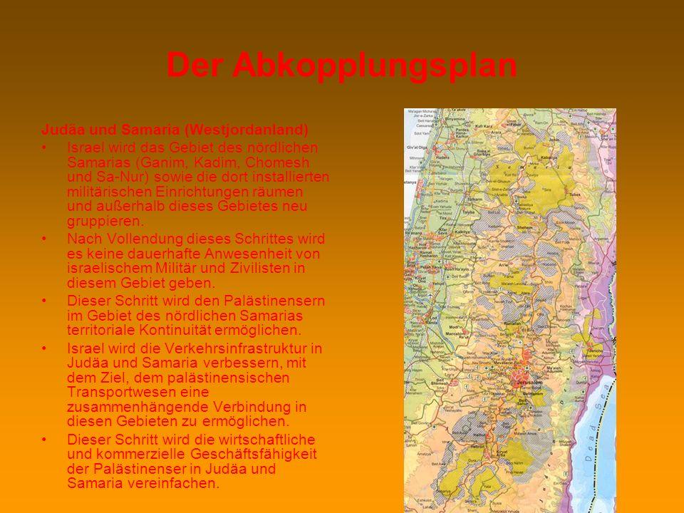 Der Abkopplungsplan Judäa und Samaria (Westjordanland)