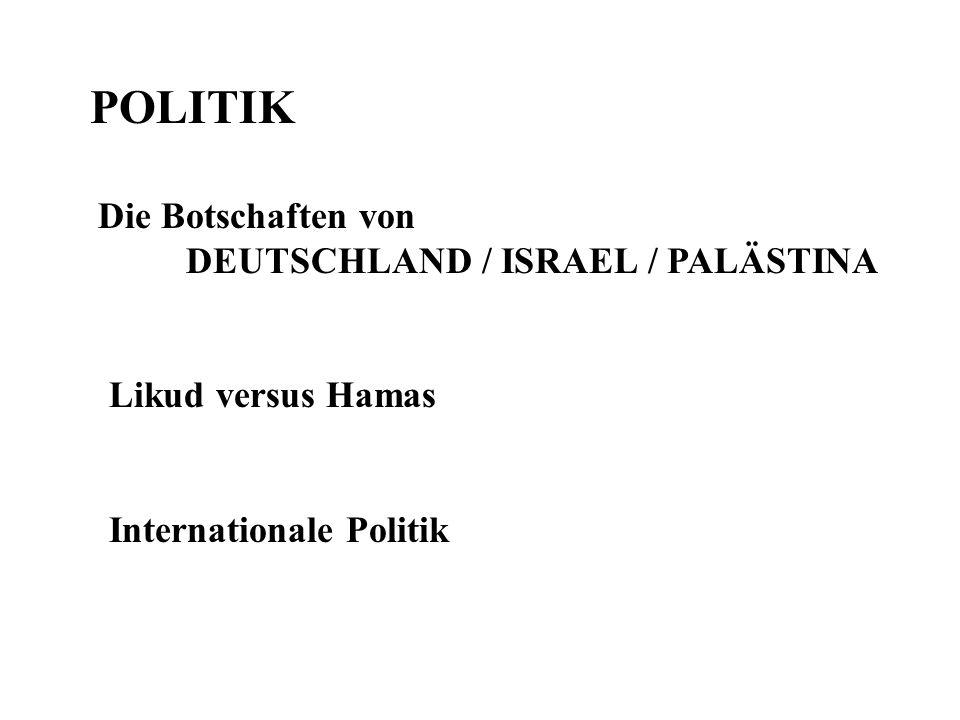 POLITIK Likud versus Hamas Internationale Politik