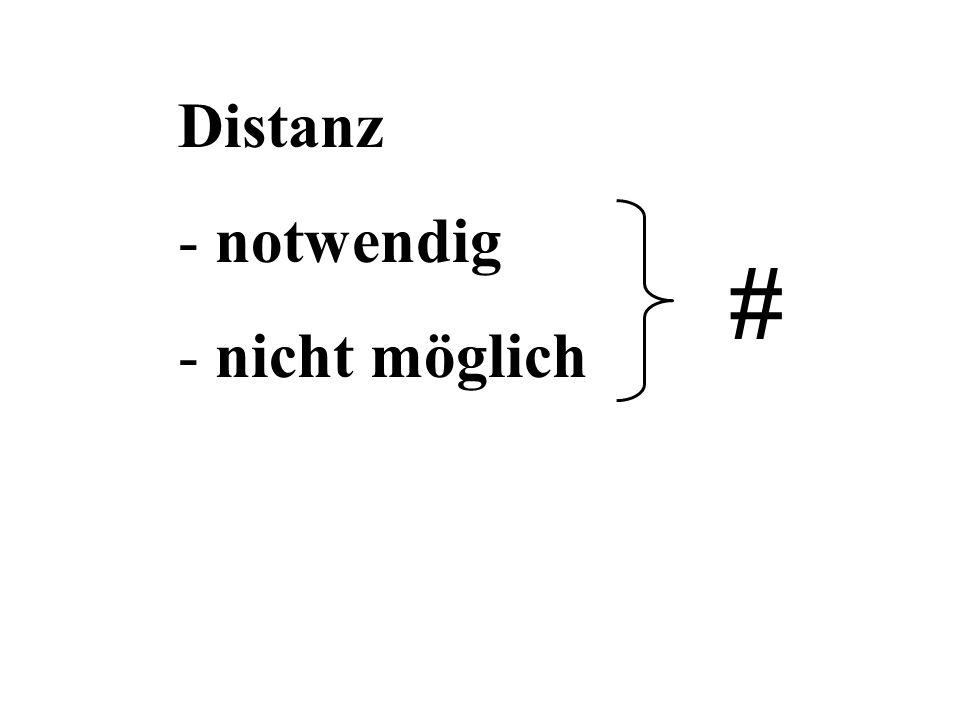 Distanz notwendig nicht möglich #