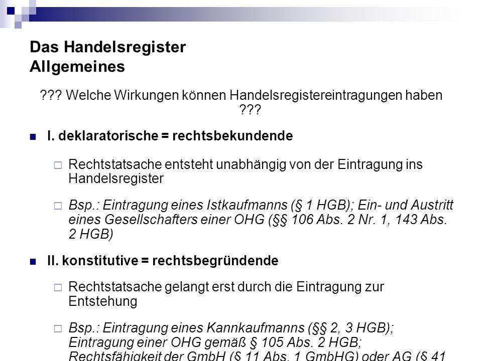 Das Handelsregister Allgemeines