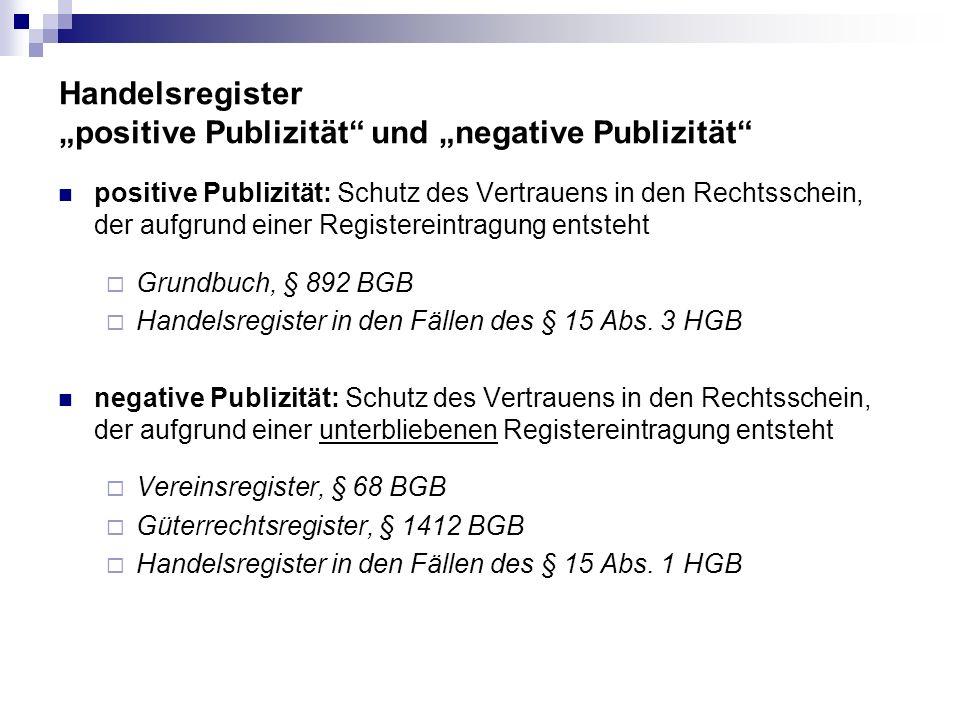 """Handelsregister """"positive Publizität und """"negative Publizität"""