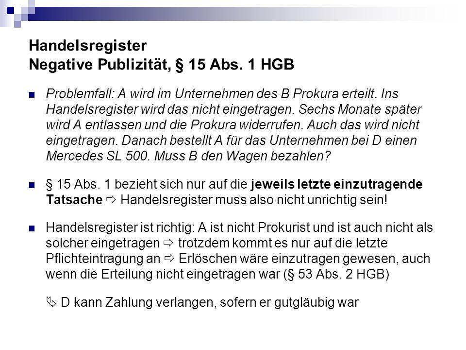 Handelsregister Negative Publizität, § 15 Abs. 1 HGB