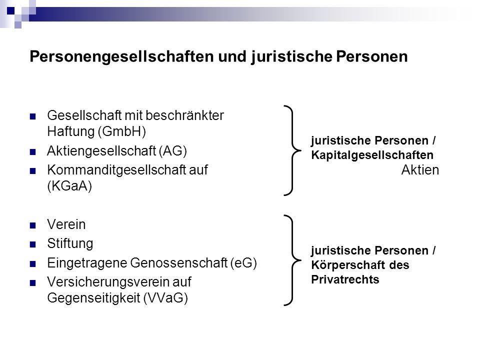 Personengesellschaften und juristische Personen