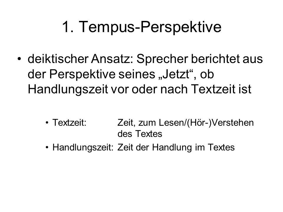 """1. Tempus-Perspektive deiktischer Ansatz: Sprecher berichtet aus der Perspektive seines """"Jetzt , ob Handlungszeit vor oder nach Textzeit ist."""
