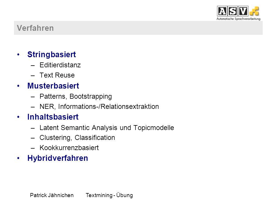 Patrick Jähnichen Textmining - Übung