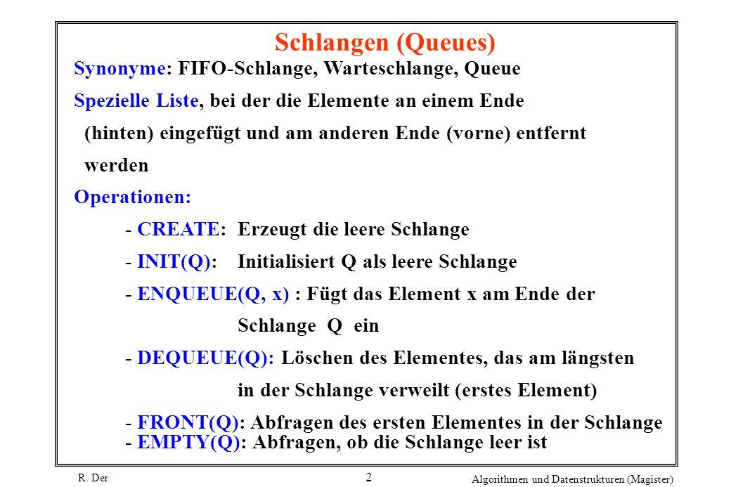 Schlangen (Queues) Synonyme: FIFO-Schlange, Warteschlange, Queue