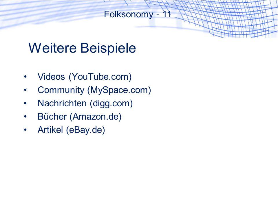 Weitere Beispiele Folksonomy - 11 Videos (YouTube.com)