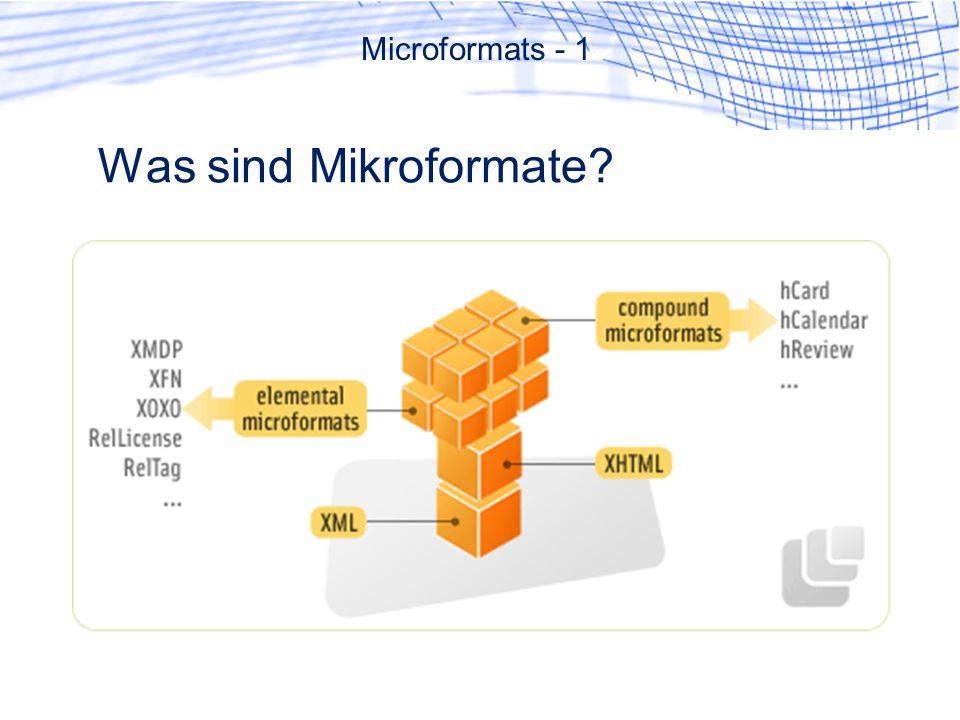Was sind Mikroformate Microformats - 1
