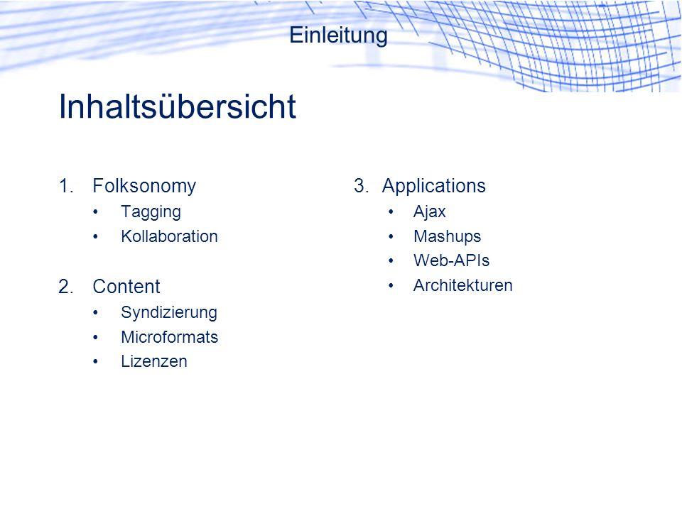 Inhaltsübersicht Einleitung Folksonomy Content Applications Tagging