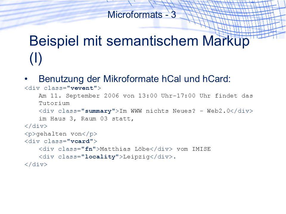 Beispiel mit semantischem Markup (I)