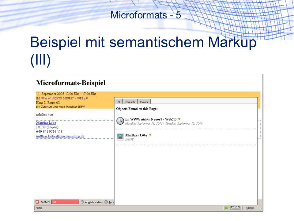 Beispiel mit semantischem Markup (III)