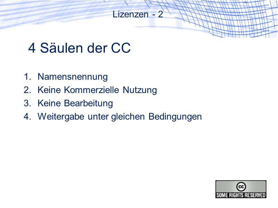 4 Säulen der CC Lizenzen - 2 Namensnennung Keine Kommerzielle Nutzung
