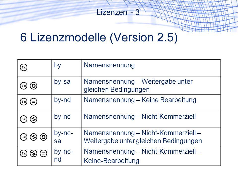 6 Lizenzmodelle (Version 2.5)