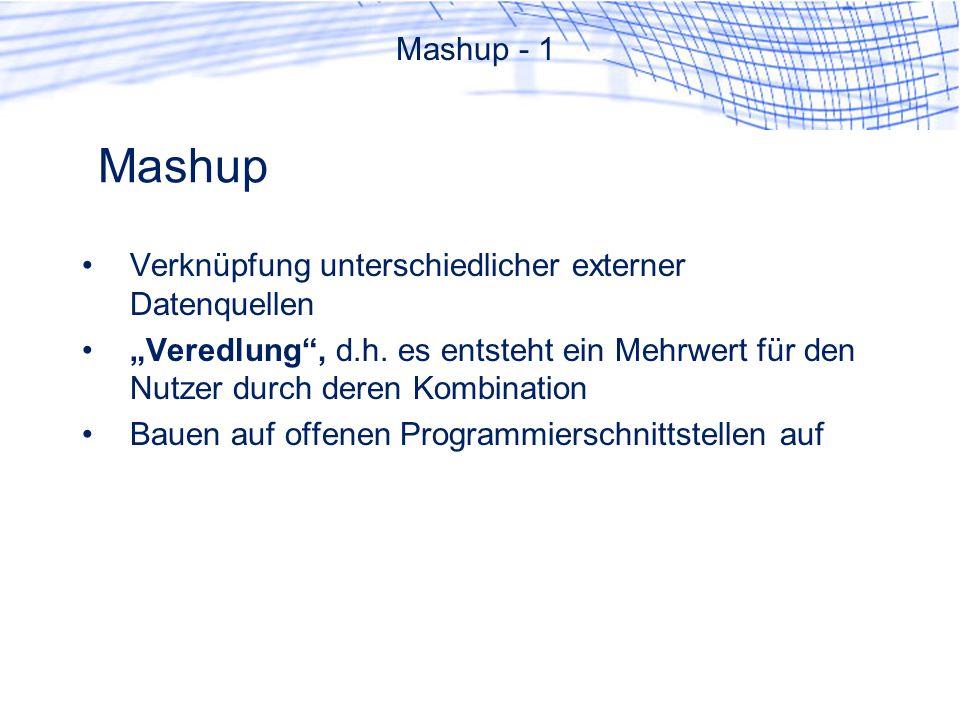 Mashup Mashup - 1 Verknüpfung unterschiedlicher externer Datenquellen