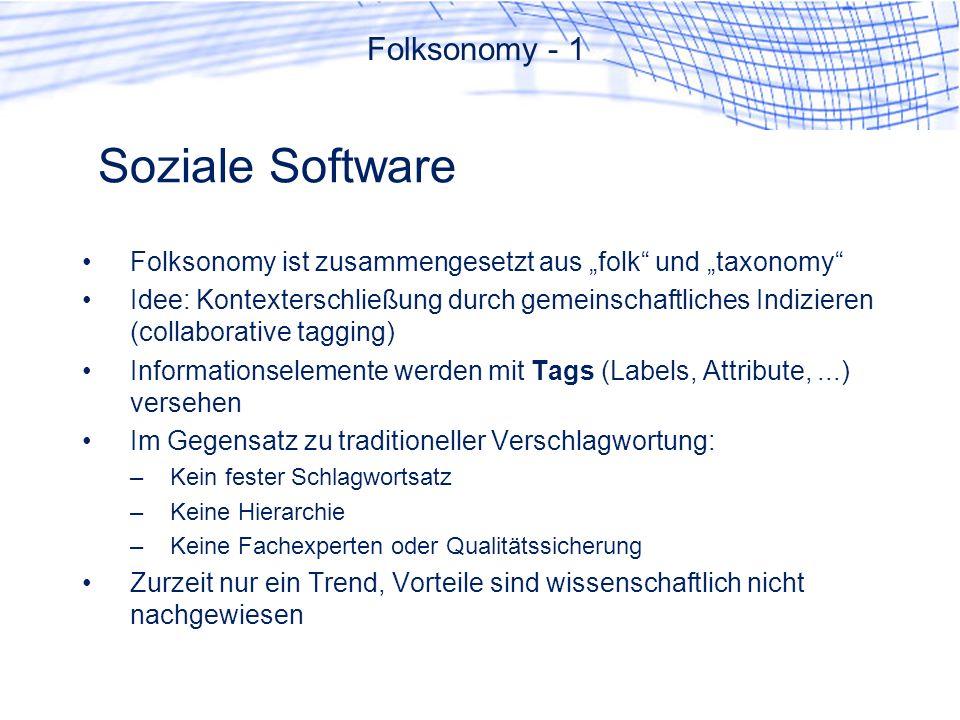 Soziale Software Folksonomy - 1