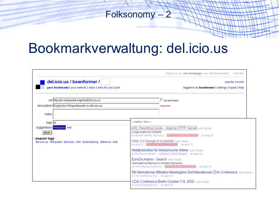 Bookmarkverwaltung: del.icio.us