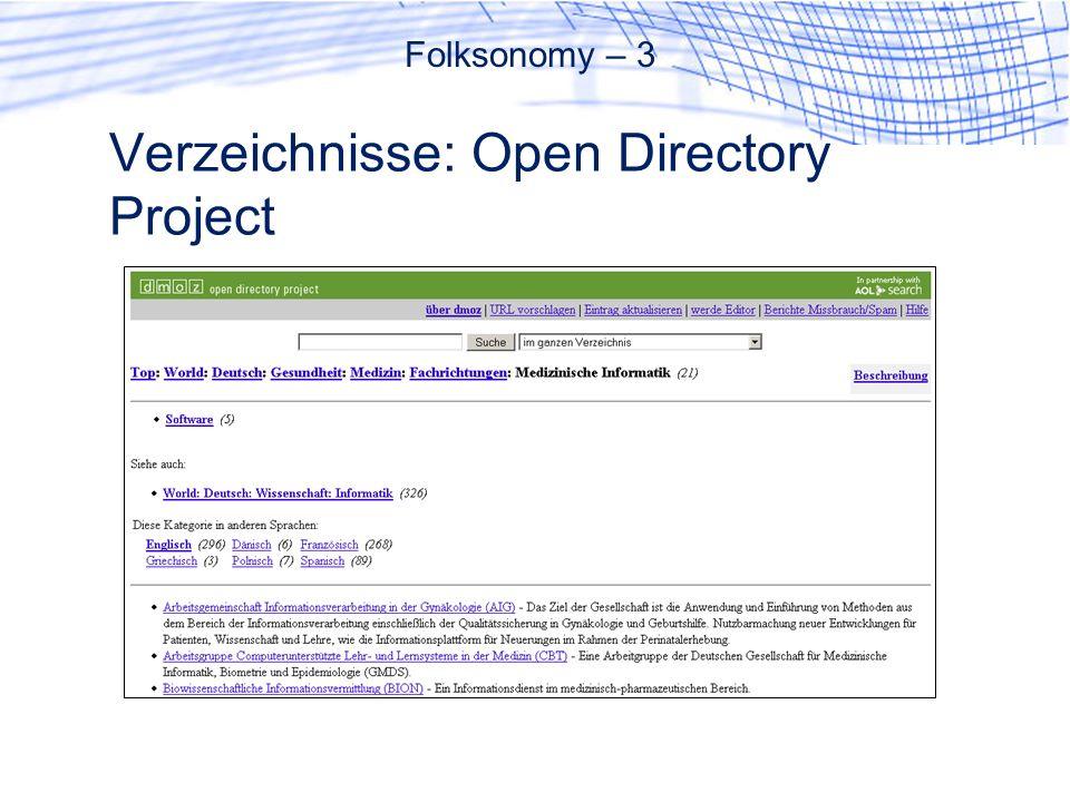 Verzeichnisse: Open Directory Project