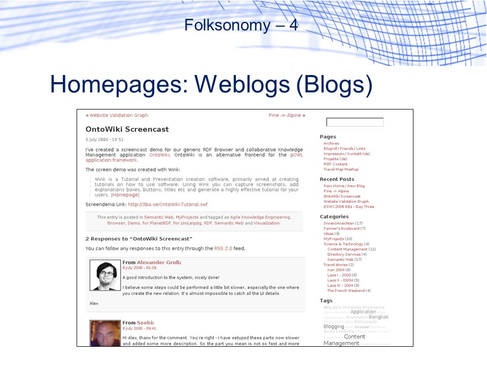 Homepages: Weblogs (Blogs)
