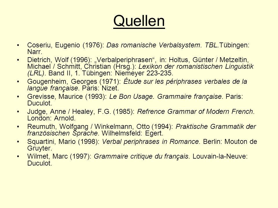 Quellen Coseriu, Eugenio (1976): Das romanische Verbalsystem. TBL.Tübingen: Narr.
