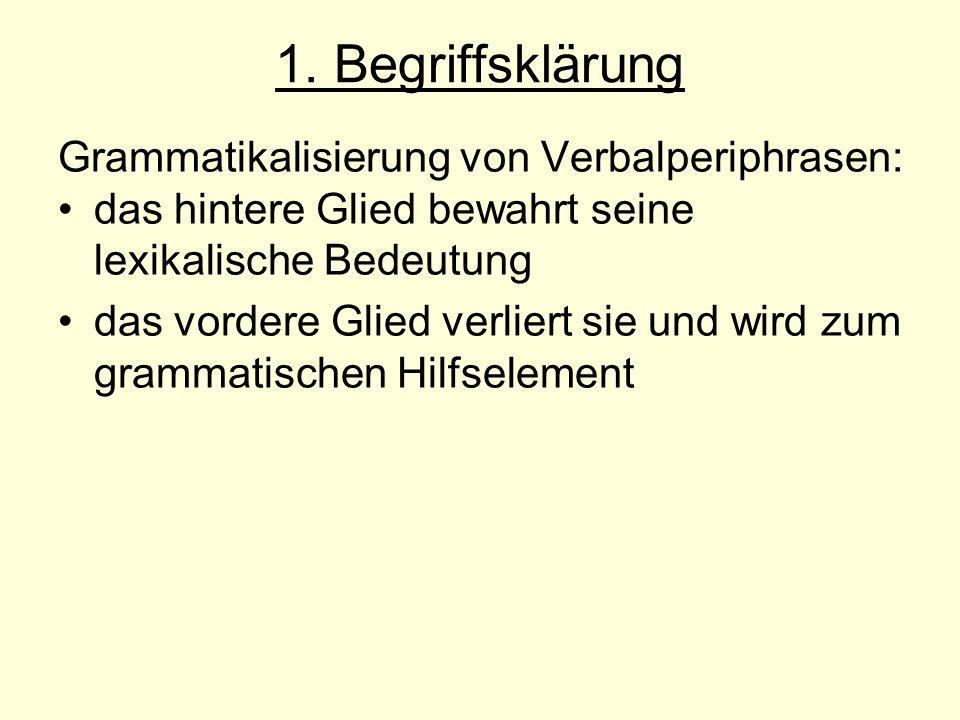 1. Begriffsklärung Grammatikalisierung von Verbalperiphrasen: