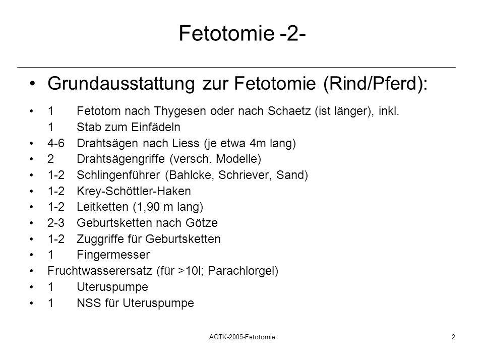 Fetotomie -2- Grundausstattung zur Fetotomie (Rind/Pferd):