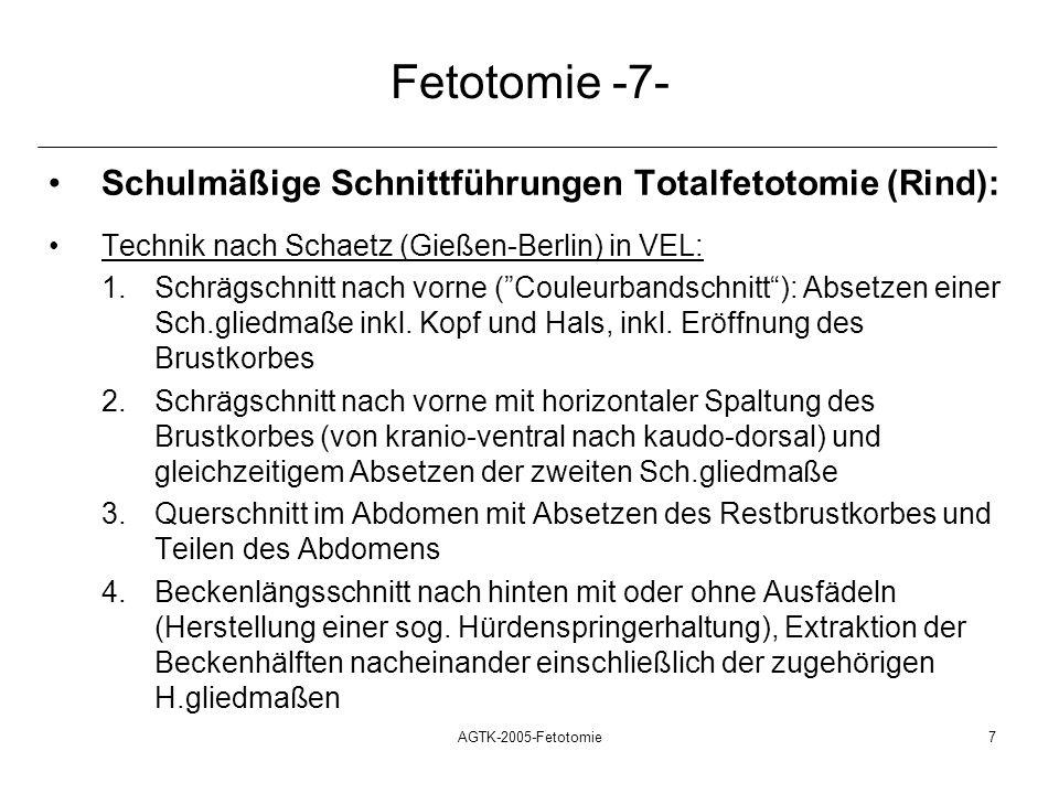 Fetotomie -7- Schulmäßige Schnittführungen Totalfetotomie (Rind):