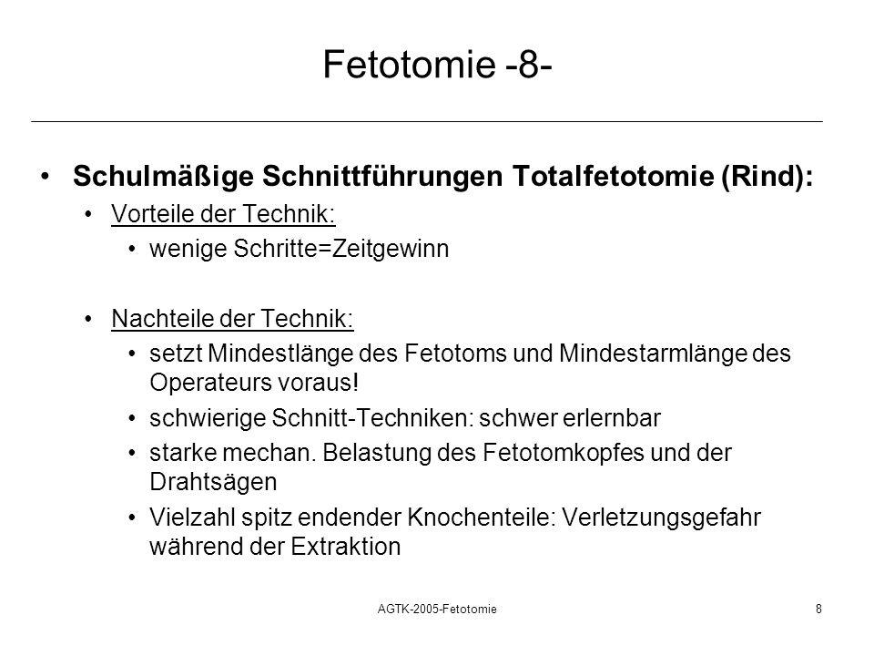 Fetotomie -8- Schulmäßige Schnittführungen Totalfetotomie (Rind):