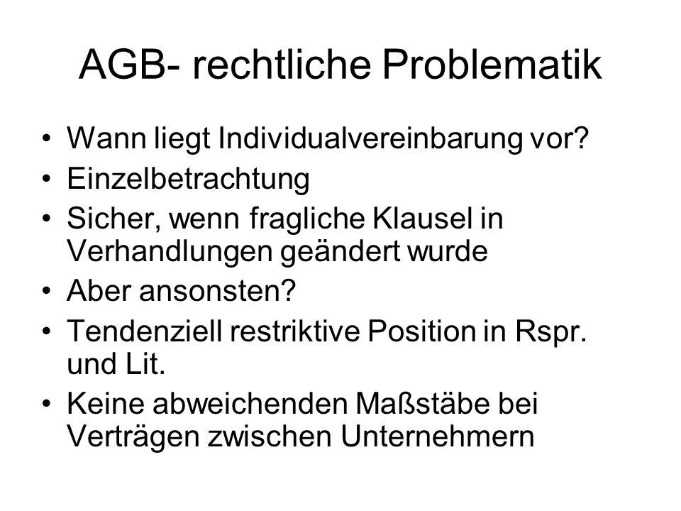 AGB- rechtliche Problematik