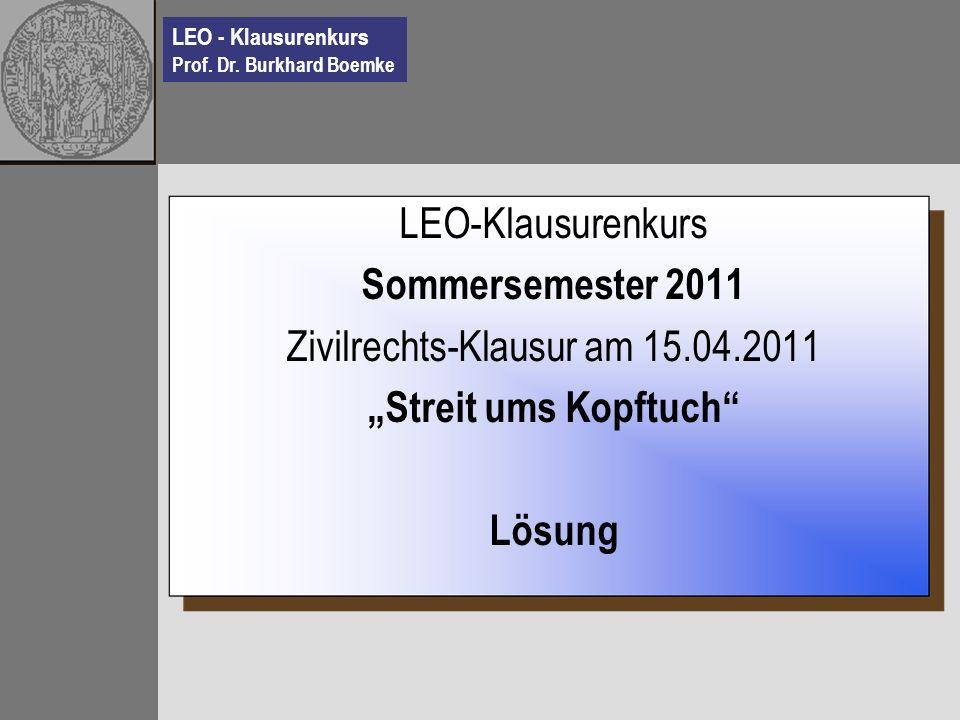 Zivilrechts-Klausur am 15.04.2011