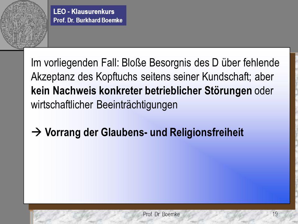  Vorrang der Glaubens- und Religionsfreiheit