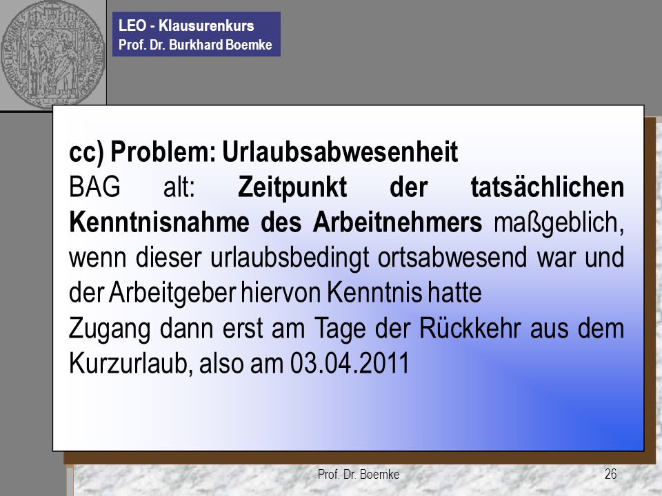 cc) Problem: Urlaubsabwesenheit