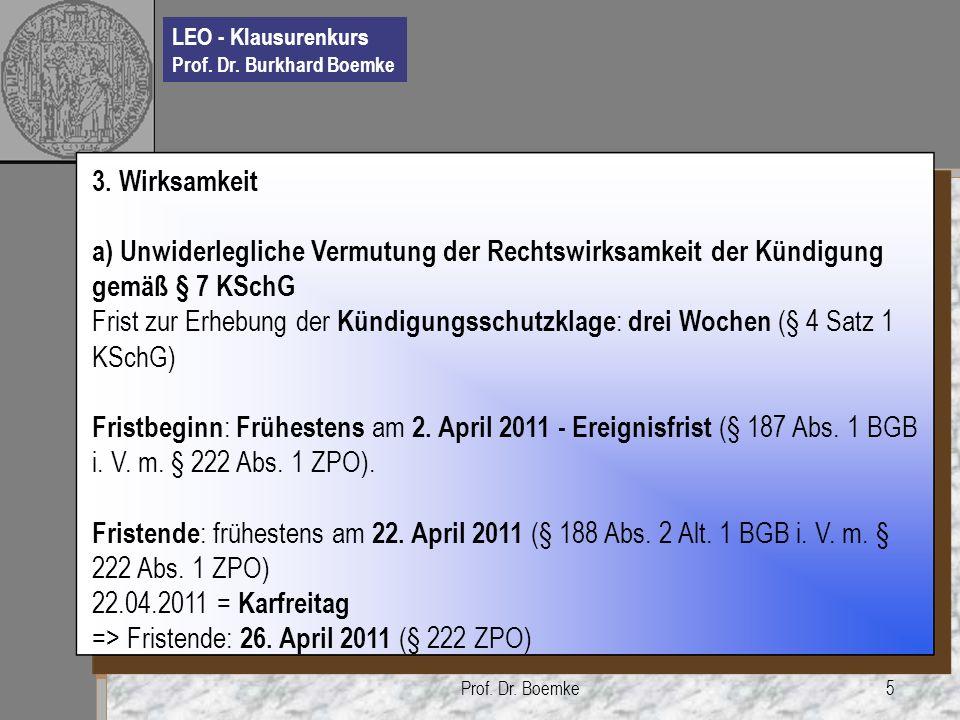 => Fristende: 26. April 2011 (§ 222 ZPO)