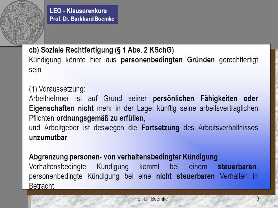 cb) Soziale Rechtfertigung (§ 1 Abs. 2 KSchG)
