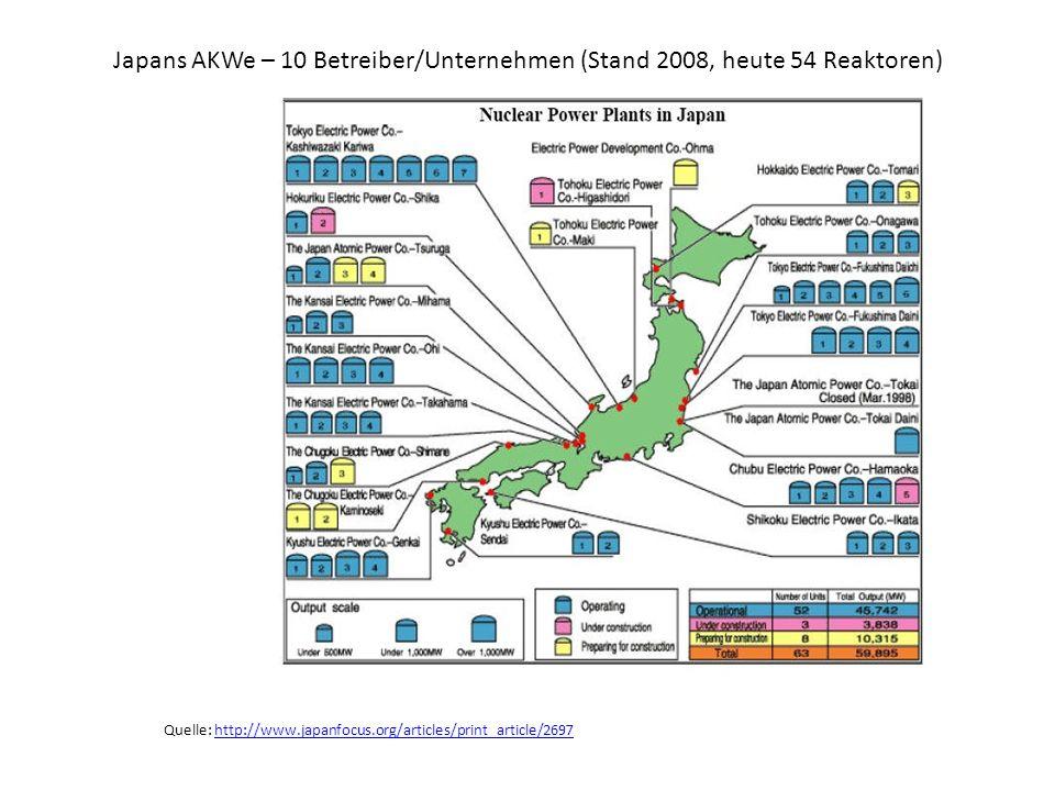 Japans AKWe – 10 Betreiber/Unternehmen (Stand 2008, heute 54 Reaktoren)