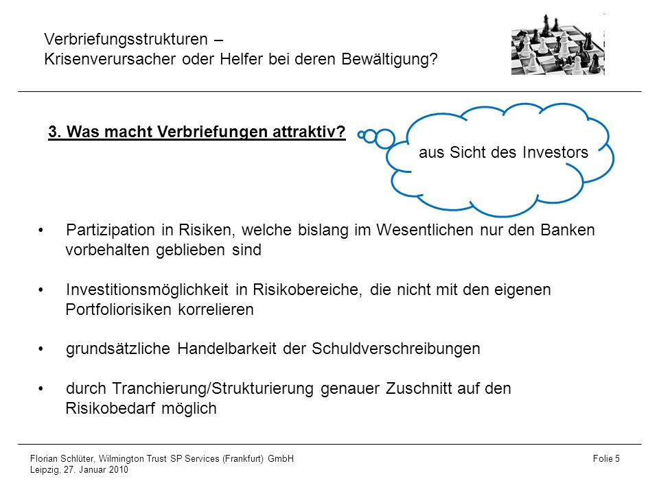 3. Was macht Verbriefungen attraktiv aus Sicht des Investors