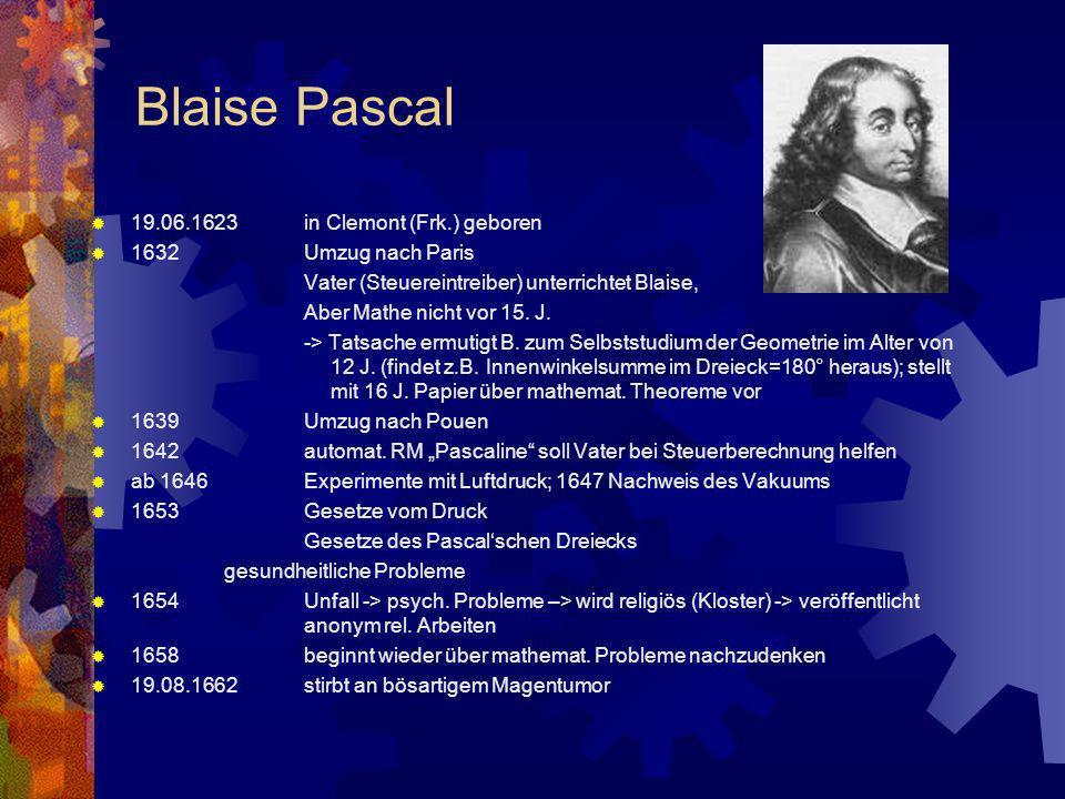 Blaise Pascal 19.06.1623 in Clemont (Frk.) geboren