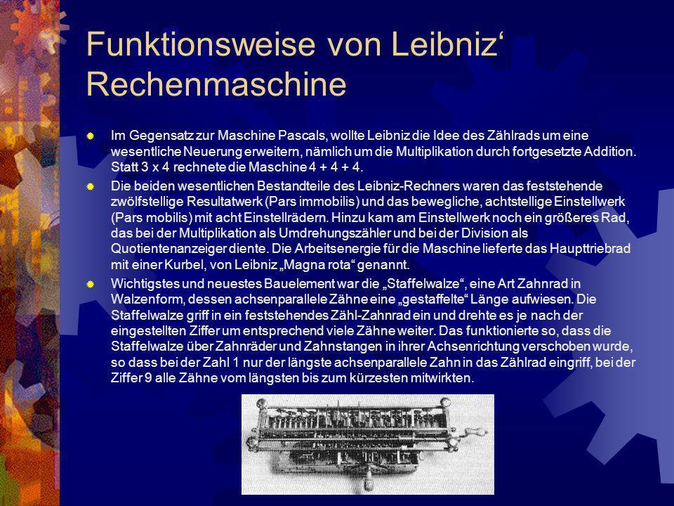 Funktionsweise von Leibniz' Rechenmaschine