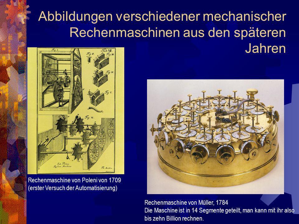 Abbildungen verschiedener mechanischer Rechenmaschinen aus den späteren Jahren