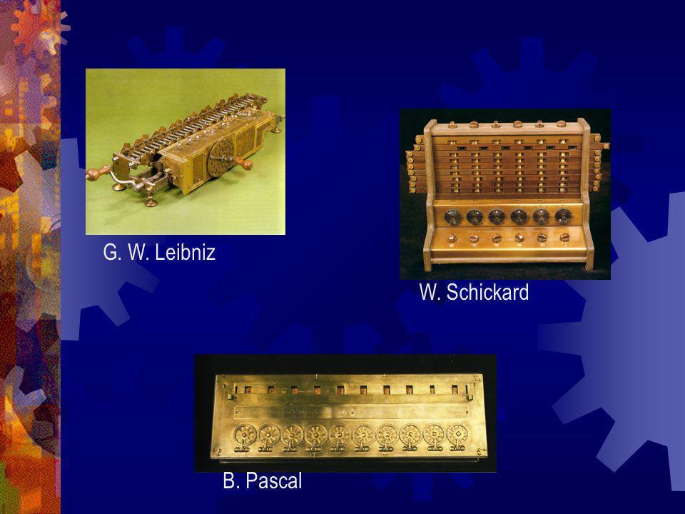 G. W. Leibniz W. Schickard B. Pascal