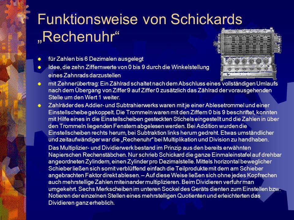 """Funktionsweise von Schickards """"Rechenuhr"""