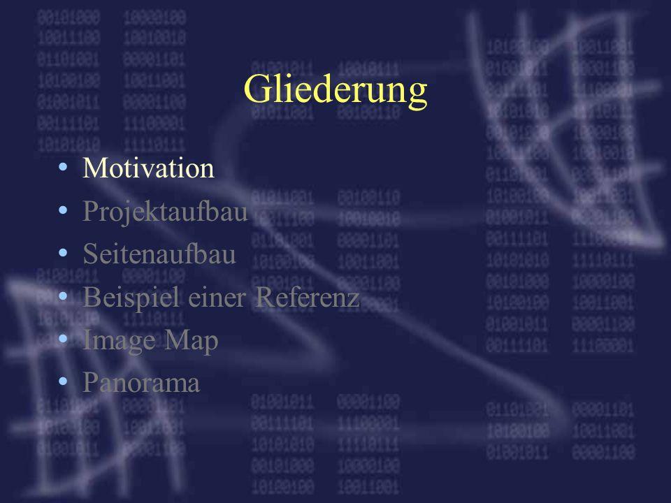 Gliederung Motivation Projektaufbau Seitenaufbau