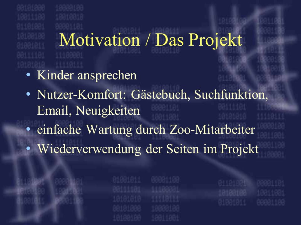 Motivation / Das Projekt