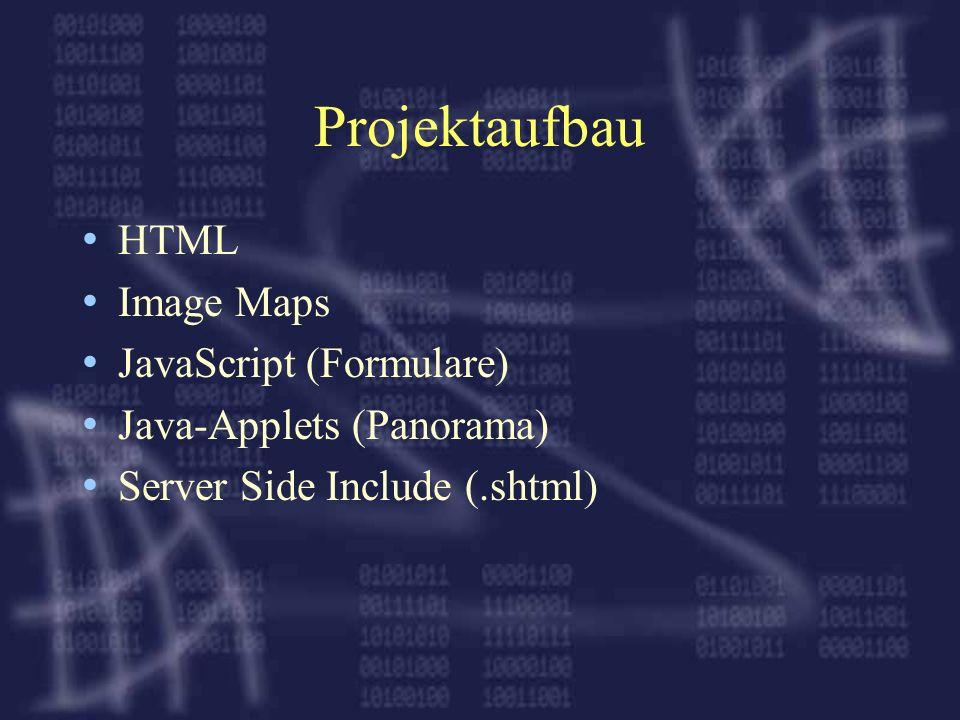 Projektaufbau HTML Image Maps JavaScript (Formulare)