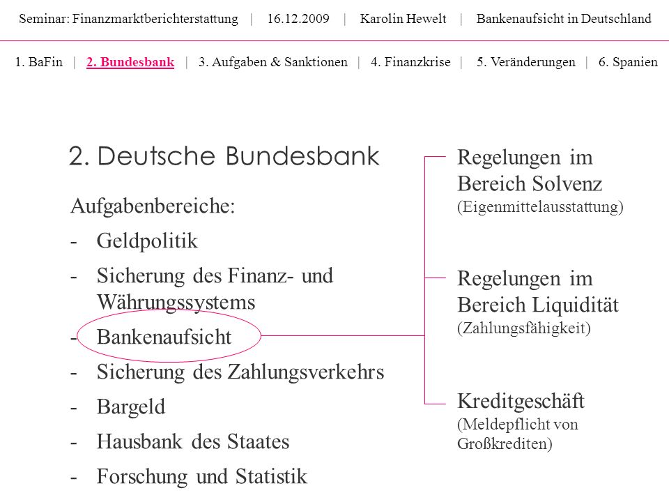 2. Deutsche Bundesbank Regelungen im