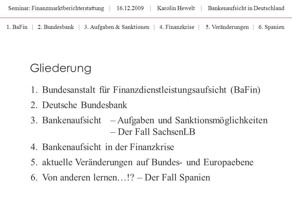 Gliederung Bundesanstalt für Finanzdienstleistungsaufsicht (BaFin)
