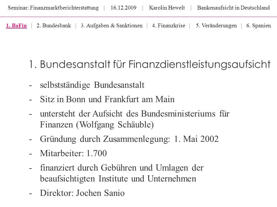 1. Bundesanstalt für Finanzdienstleistungsaufsicht