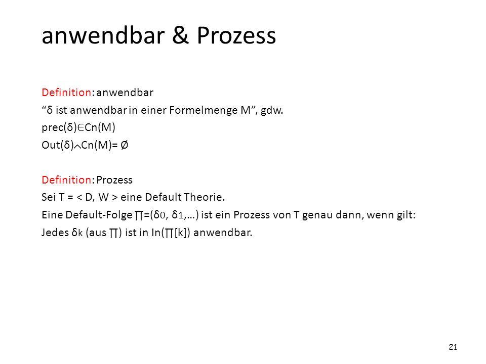 anwendbar & Prozess